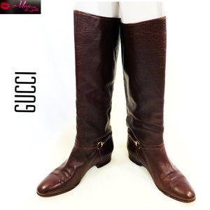 GUCCI Authentic Vintage Brown Gold Horsebit Boots